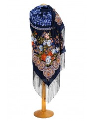 Dark-blue shawl with silk fringe