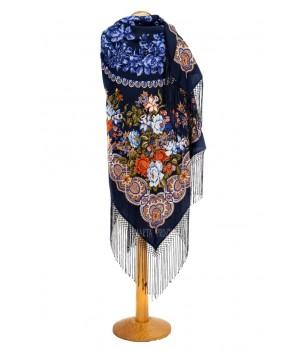 Dark-blue shawl with silk fringe