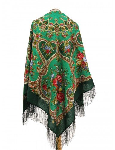 Green shawl with hearts and flowers