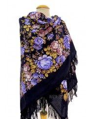 Midnight blue shawl with roses and flowers