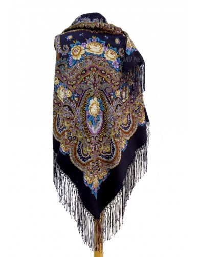 Woolen shawl with dark blue field bordered by flowers