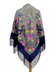 Blue woolen shawl with flower pattern