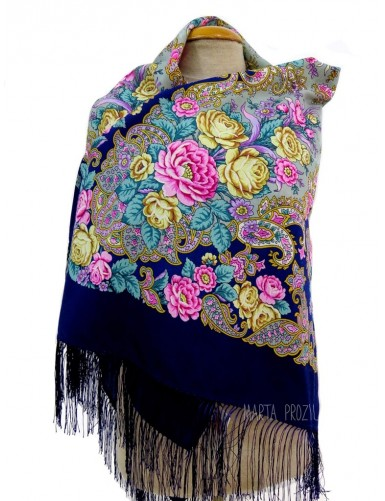 Blue woolen shawl with flower pattern