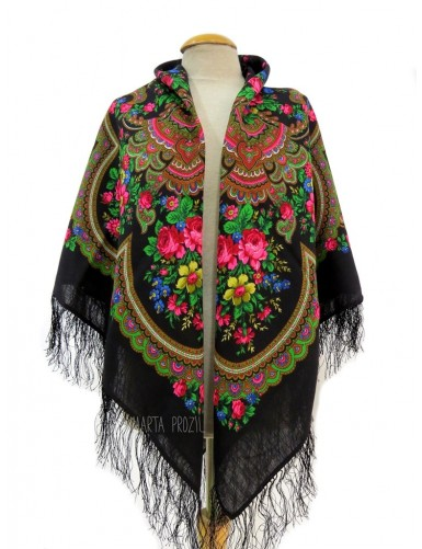 Black shawl with roses and flowers