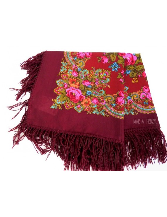 Red shawl with roses and flowers