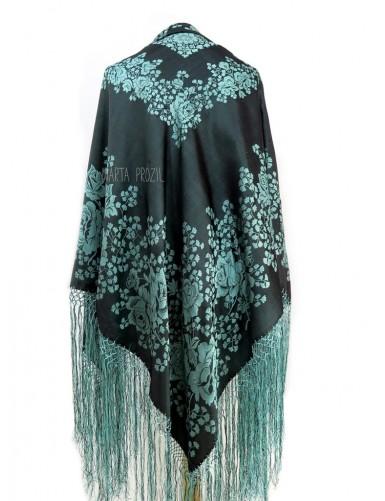 Natural silk shawl with green flowers and fringe