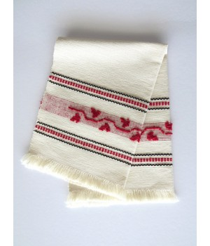 Linen placemat with pulled thread work - red