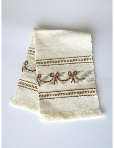 Linen placemat with pulled thread work - brown