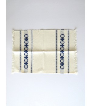 Linen placemat with pulled thread work - blue