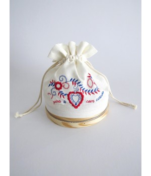 Sifter with linen bread bag - embroidered