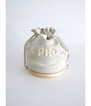 Sifter with linen bread bag - pulled thread work