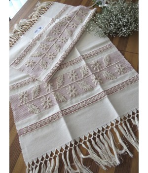 Linen towel with pulled thread work - holly leaf
