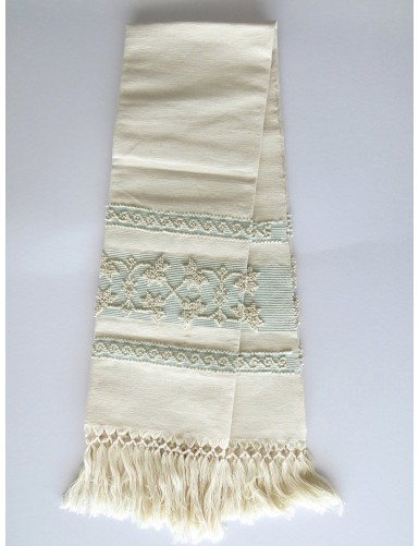 Linen towel with pulled thread work - light blue