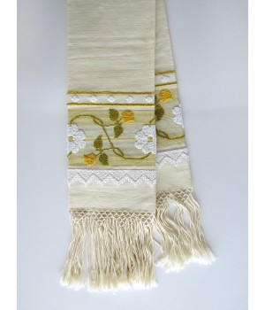 Linen towel with pulled thread work and fringe - marigold