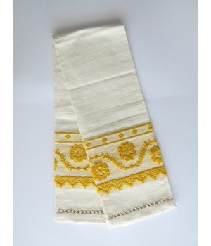 Linen towel with pulled thread work - yellow