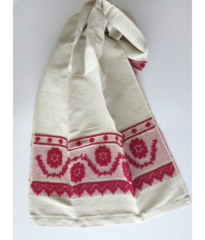 Raw linen towel with pulled thread work - red