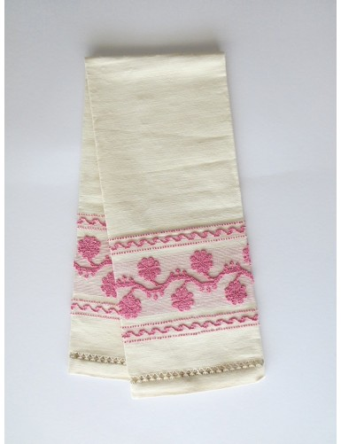 Linen towel with pulled thread work - pink