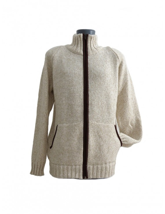 Beige knitted cardigan with zipper