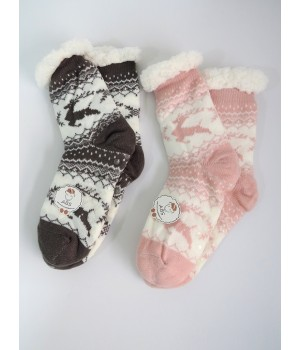 Home socks with plush and abs sole - deer