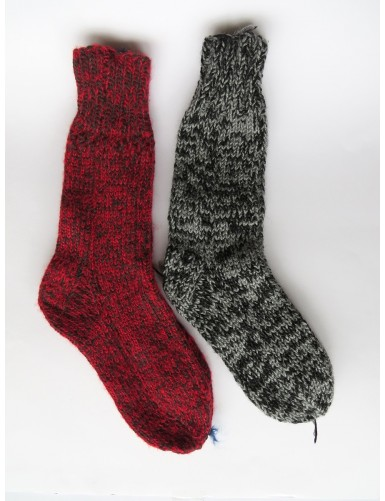 2 pairs of thick woollen socks - red and grey
