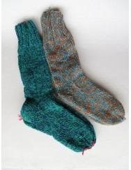 2 pairs of thick woollen socks - blue and green tones