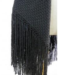 Blanket or black shawl with fringes