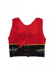 Red lavradeira vest hand embroidered - small size