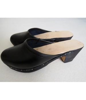 Black wooden clogs