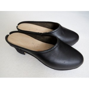 Black wooden clogs