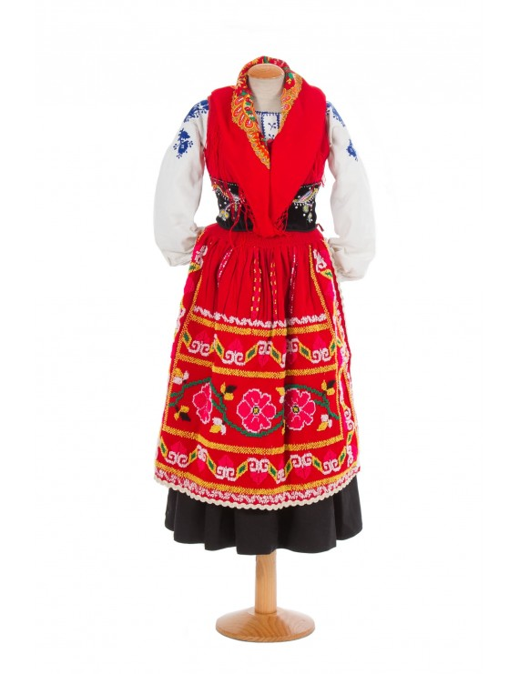 "Red lavradeira costume ""3 roses"" apron"
