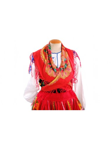 """Red lavradeira costume with """"grapes"""" apron"""