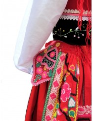 Red lavradeira costume with silky embroidered waistcoat
