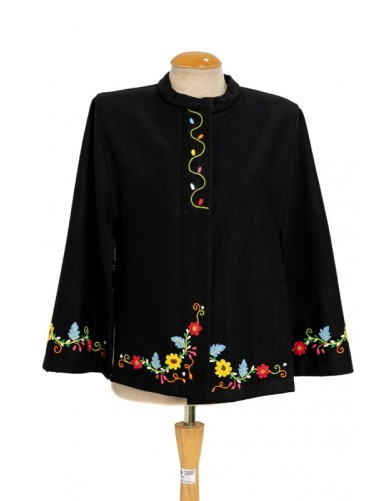 Black cloak in wool felt handmade embroidered