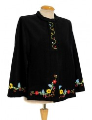 Black cloak in wool felt handmade embroidered