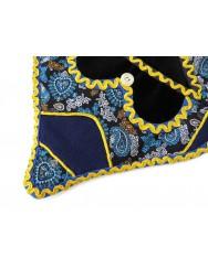 Blue side pocket or algibeira with chintz