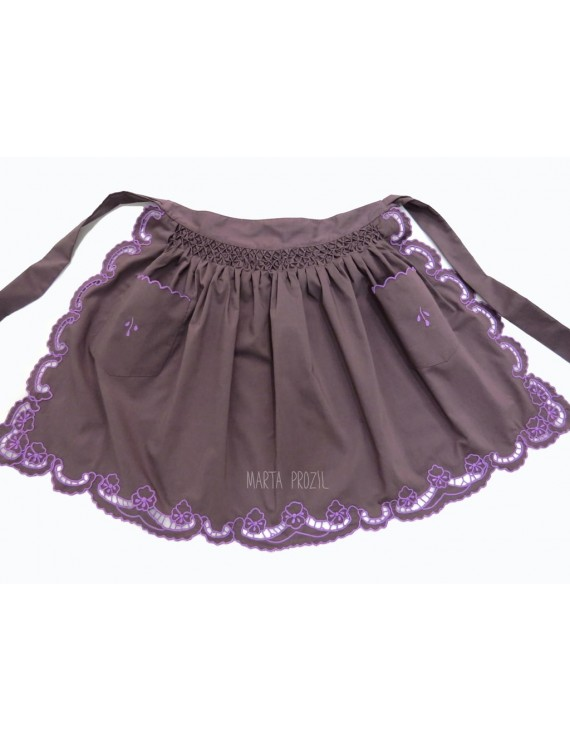 Cutwork apron - eggplant colour