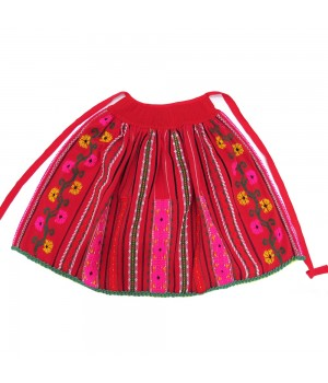 Red apron with vegetalist pattern