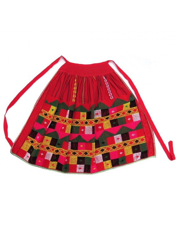 Checked handloom apron - red