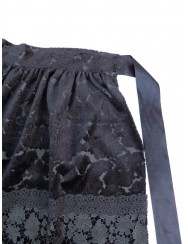 Black velvet apron with embossing pattern and lace