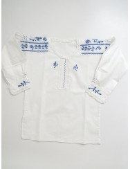 Traditional blouse embroidered in light blue - 18 to 24 months