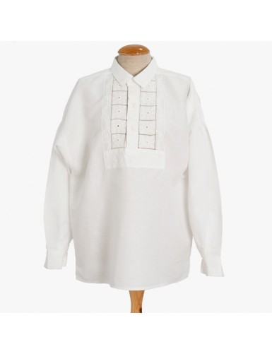 Traditional men shirt embroidered in white work
