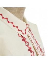 Linen men shirt embroidered in red cross stitch