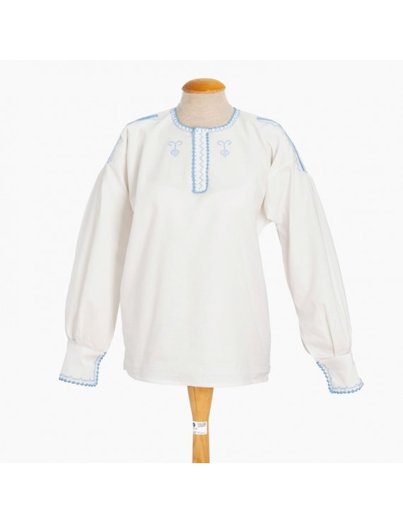 Traditional blouse in light blue cross-stitch