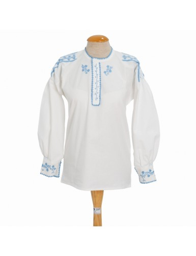Traditional blouse embroidered in light blue - S