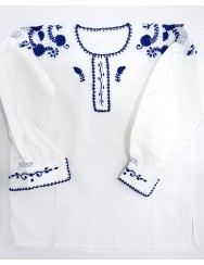 Traditional blouse embroidered in blue - XL