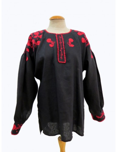 Black linen blouse embroidered in red
