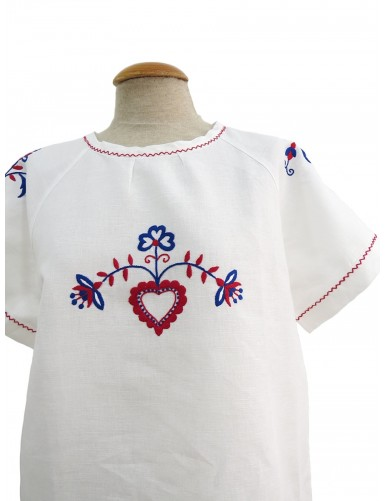 Hand embroidered linen tunic with raglan sleeves