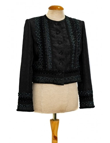 Women's jacket in black brocade - L