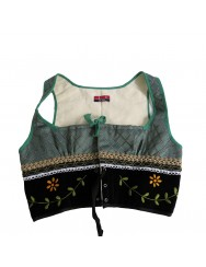 Embroidered green vest - L