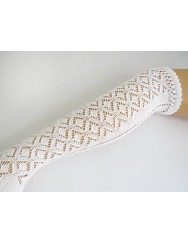 Knitted lace socks with diamond pattern